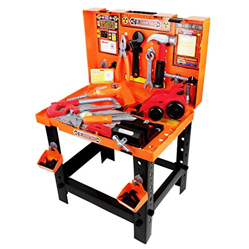 (Boley Builders - Construction Workbench and Toy Tools Set - 88 Piece Set Includes Play Hammer, Screwdriver, Wrench, Drill, and More - Perfect for Kids, Toddlers, Children!)