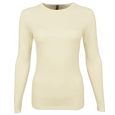 Amazon.com: Esteez Women's long sleeve fancy slinky fitted tee/ t ...