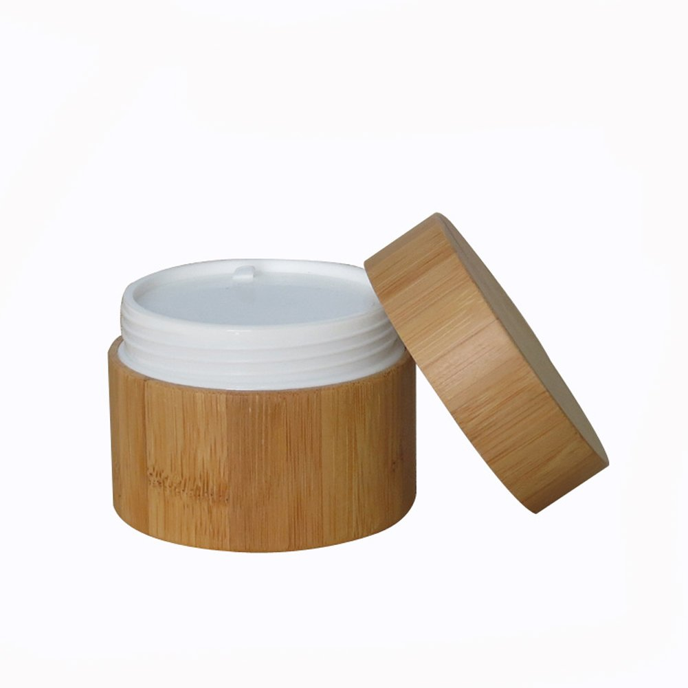 100ML Environmental Bamboo Body Empty Refillable Cosmetic Cream Jar Storage Bottle Container Bottle for Travel And Home Elandy