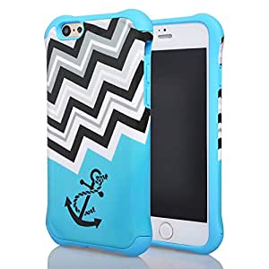 iPhone 6Funda, Meaci (TM) teléfono móvil para iphone 6(4.7pulgadas) Case Combo híbrido duro Pc y caucho funda Bumper de doble capa con suave exquisita rescate ola patrón de anclaje carcasa protectora