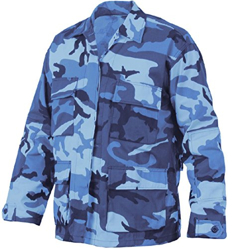 (Mens Sky Blue Camouflage Military BDU Shirt Tactical Uniform Army Coat Fatigues)