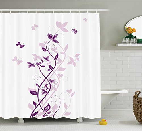 Purple Decor Shower Curtain by Ambesonne, Violet Tree Swirling Persian Lilac Blooms with Butterfly Art Ornamental Plant Graphic, Polyester Fabric Bathroom Set with Hooks, 75 Inches Long, Purple White