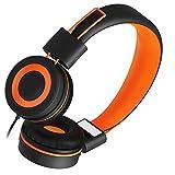 Kids Headphones for School Children- SIMILKY Stereo Tangle-Free 3.5mm Jack Wired Cord On-Ear Headset for Children 8-15 Years Old (Orange)