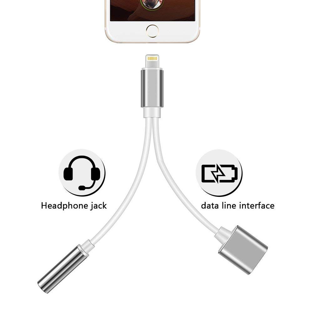 2 in 1 Lighting Adapter, Darrent Lighting to 3.5mm Aux Headphone Jack Audio Adapter Compatible Phone 7/8/X/7 Plus/8 Plus, Support iOS 10.3/11(Sliver)