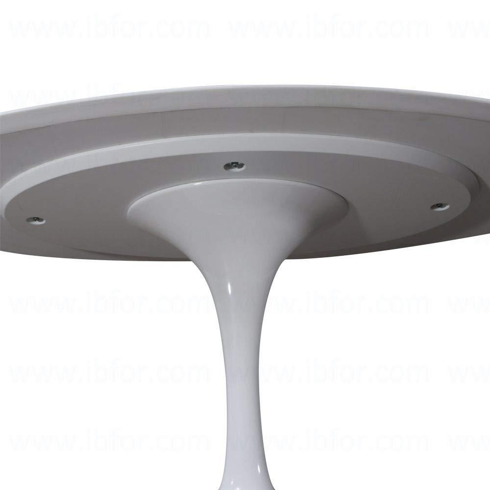 Generico Tavolo Design Stile Tulip Piano in Legno Laccato e Piede in Acciaio Verniciato Diametro 70cm