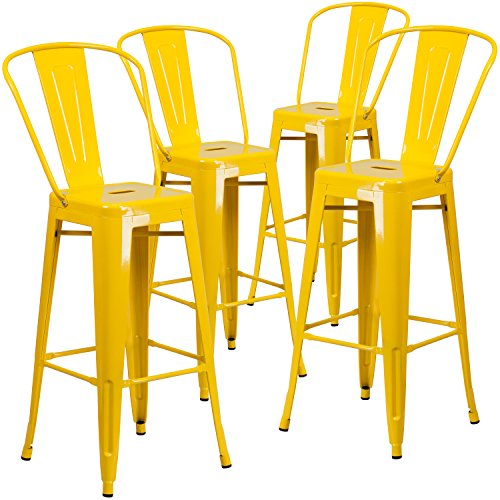 Flash Furniture 4 Pk. 30'' High Yellow Metal Indoor-Outdoor Barstool with Back