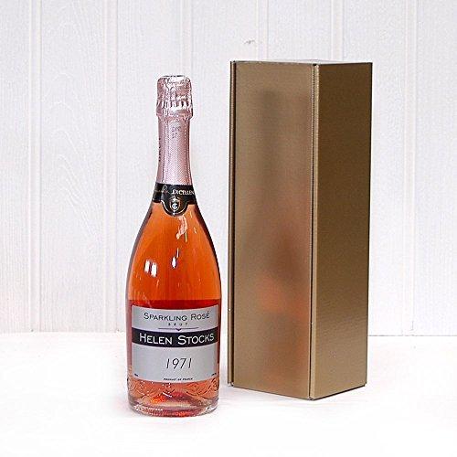 Rosa personalizado redondas de vino 750 ml y dorado caja de ...
