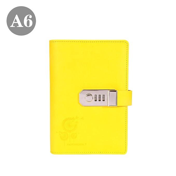 Amazon.com: A6 anillas diario con bloc de notas (piel ...