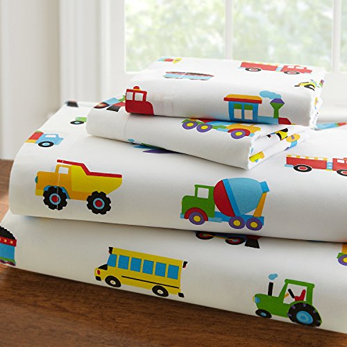 Wildkin Microfiber Full Sheet Set, Includes Top Sheet, Fitted Sheet, and Two Pillow Cases, Bold Patterns Coordinate with Other Room Décor, Olive Kids Design – Trains, Planes, & Trucks ()
