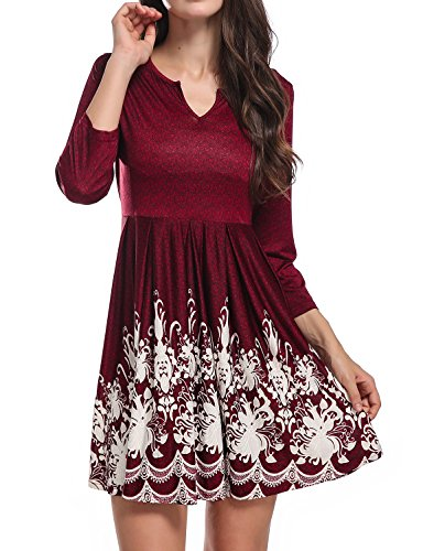 Knit Retro Print Empire Dress - 3