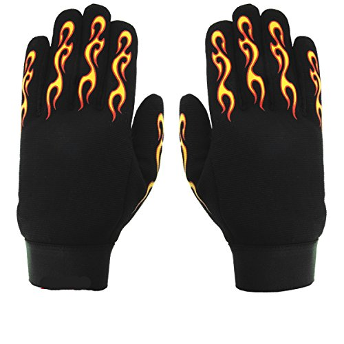 Hot Leathers Yellow and Red Flame Mechanic Men's Gloves (XL)