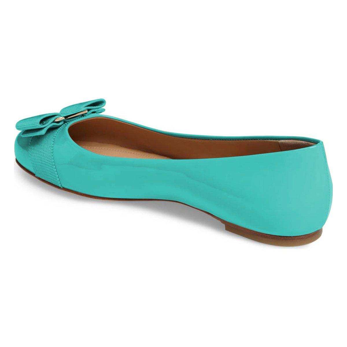 XYD Women Cute Bows Round Toe Ballet Flats Slip On Patent Basic Office Daily Shoes B07CNL4C6P 9 B(M) US|Aqua