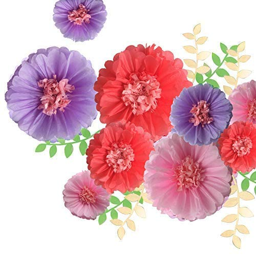 Fonder Mols Paper Chrysanth Flowers Tissue Flowers Pom Poms Decorations Wedding Nursery Wall Backdrop Centerpiece Decor (Pack of 15pcs, Coral Pink Purple)
