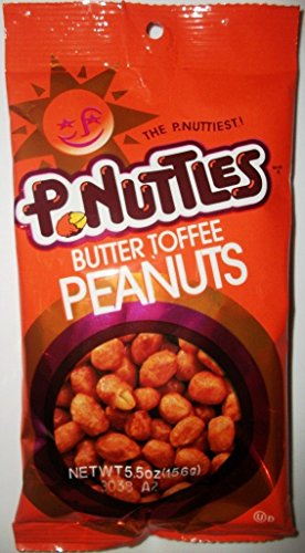 P.Nuttles, Butter Toffee Peanuts, 5.5oz Bag (Pack of 6)