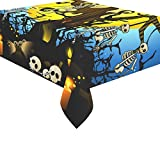 InterestPrint Home Table Decor Happy Halloween Night Tablecloth Sets 52 X 70 Inches - Skull Skeleton Wood Bat Sofa Table Cloth Cover for Dinner Party Decoration