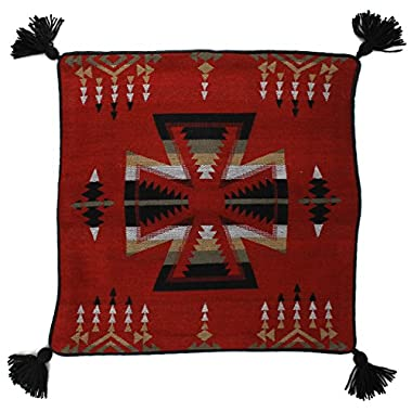 Southwest Tribal Woven Red with Black Cross 18 x 18 Pillow Cover