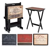 Tray Tables with Classic Functional and DecorativeVintage Wine Labels Snack Table Set. Includes 4 Snack Tables and Stand