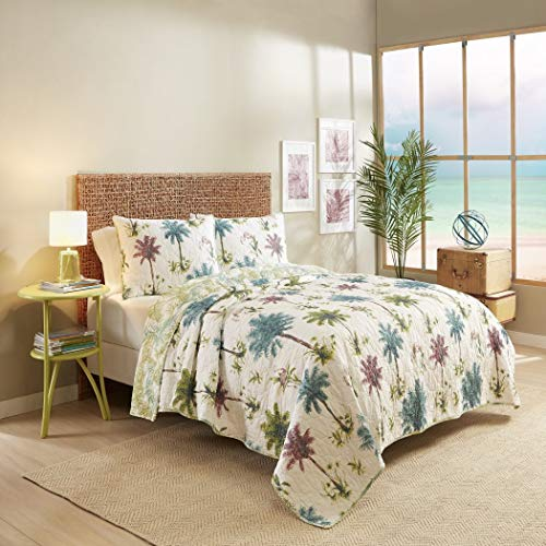 3 Piece Beautiful White Purple Blue Green Full Queen Quilt Set, Casual Palm Tree Beach Reversible Themed Bedding Leaves Leafy Coastal Cottage Cabin Summer Tropical Fun Trendy Cute Island Chic, Cotton