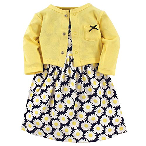 Hudson Baby Girl Cotton Cardigan and Dress, Daisy 2 Piece Set, 2 Toddler (2T)