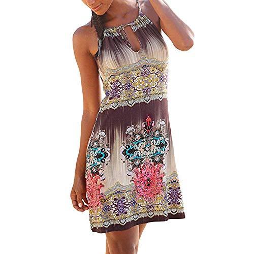 Wokasun.♪♪ Women Summer Halter Neck Dress Abstract Boho Print Skirt Sleeveless Casual Mini Beachwear Dress Sundress(Multicolor 1,L) Abstract Print Mini Dress