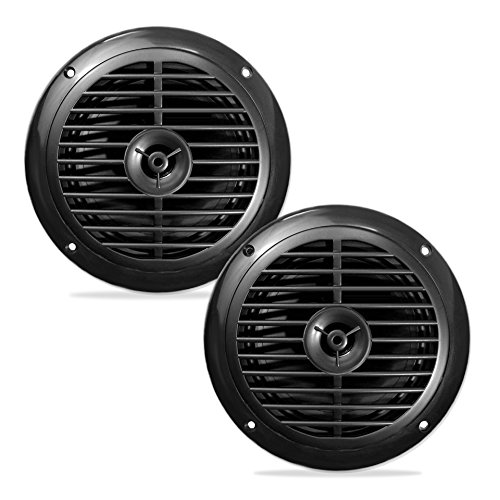 rproof Marine Speakers, Full Range Stereo Sound, 120 Watt, Black (Pair) (Pyle 6.5 Inch Full Range)