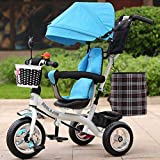 keyi le Durable and Sturdy Multifunctional Children's Tricycle Baby Trolley 1-6 Years Old Infant Child Bicycle Removable Boys And Girls Bike Multi-color Cloth Awning (Color : White-D)