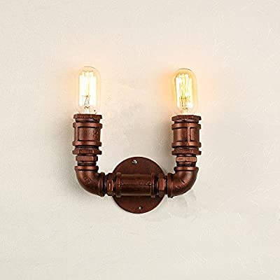 Lightess Industrial Pipe Wall Sconce Lamp Retro Steampunk Wall Light Metal Edison Lighting, 2 Lights