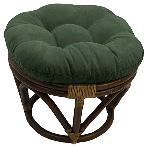 International Caravan 3301-MS-SP-IC Furniture Piece Rattan Ottoman with Micro Suede Cushion