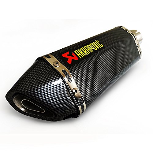 VK 2''51mm Motorcycle Exhaust Slip on Carbon for Suzuki Honda Yamaha Akrapovic Bike,did 96 db max at 6000 RPM Without The Baffle, About 15 cm or 6 inches Away(Carbon)