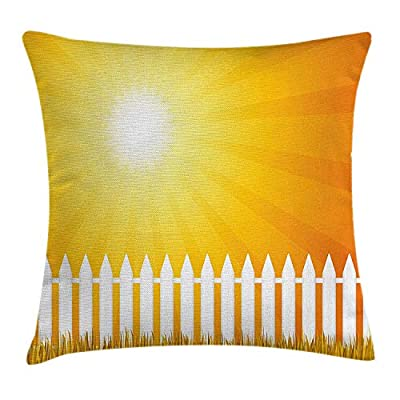 vQ87o0t Yellow Decor Throw Pillow Cushion Cover by, Rising Sun with Sunshine for Happy Day Fence Grass Landscape, Decorative Square Accent Pillow Case, 18 X 18 Inches, Yellow White and Merigold