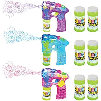 """Blue, Pink & Purple Bubble Blaster Set with Lights and Sound, by ArtCreativity Includes 7"""" bubble guns & 6 Bottles of Solution, Great Gift for Kids (Batteries Included)"""