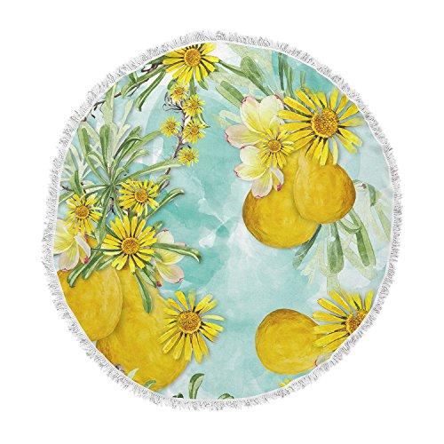 KESS InHouse Liz Perez Sunny Day Yellow Floral Round Beach Towel Blanket ()