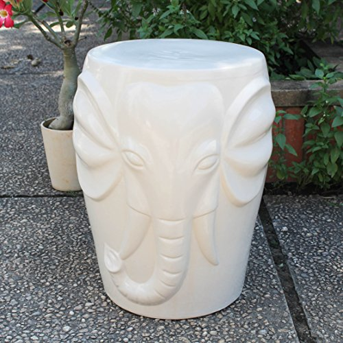 (International Caravan OPG-064-AW-IC Furniture Piece Antique White Wild Elephant Drum Ceramic Garden Stool, White/Off-White )