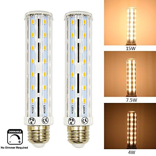 25w T10 Incandescent Bulb - Bonlux 3-Way LED Corn Light Bulb 15W Dimmable T10 Tubular Light Medium Screw Base E26 Warm White 100/50/25W Incandescent Equivalent for Display Cabinet Showcase Desk Nightstand Light (Pack of 2)