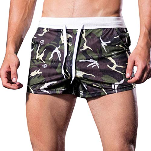 YKARITIANNA Men's Soft Pattern Summer Home Leisure Camouflage Sports Trousers Breathable Shorts Pants ()