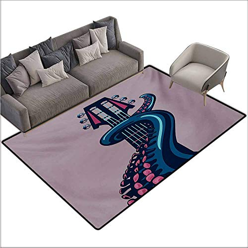 (Bath Rug Octopus Sea Animal with Guitar Riff Musical Instrument Rock and Roll Modern Artwork Print Country Home Decor W67 xL102 Lilac Blue)