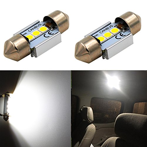 "Alla Lighting CANBUS Error Free 31mm (1.25"") Super White High Power 3030 SMD DE3175 DE3021 DE3022 3175 LED Bulbs for Interior Festoon Map Dome License Plate Lights Lamp"