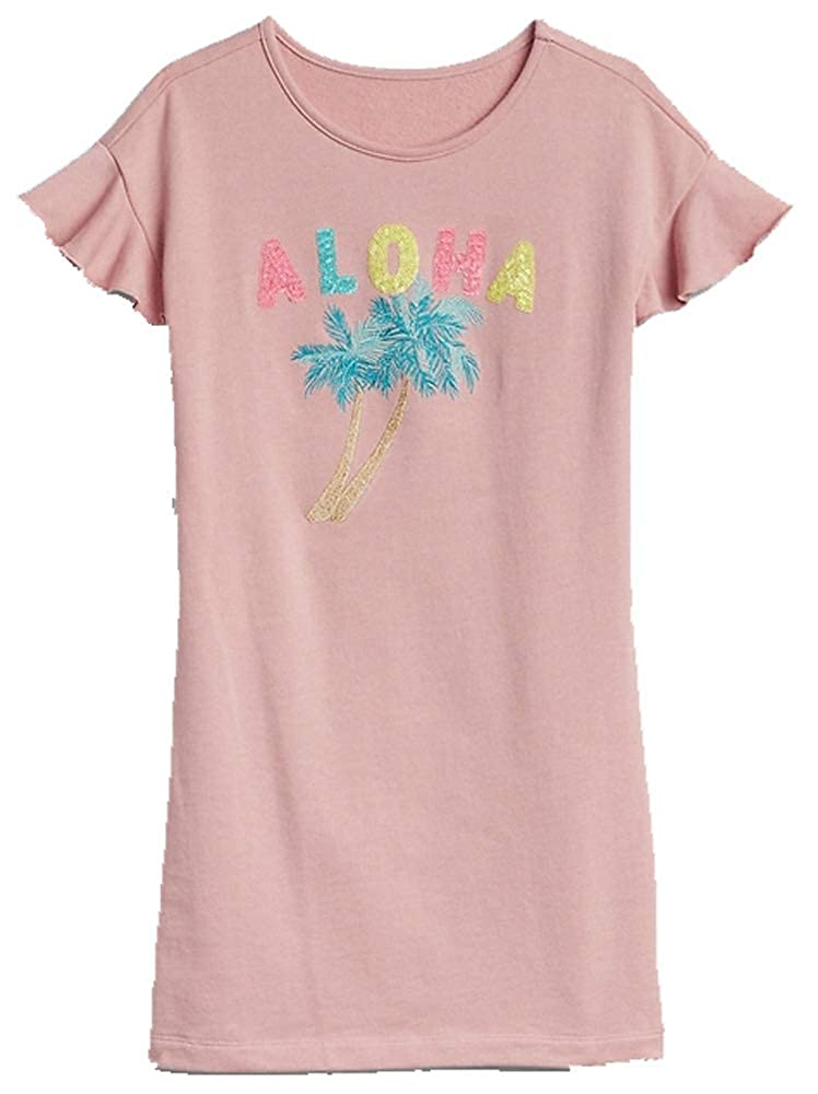a26ad4e1dac Amazon.com  GAP Kids Girls Pink Aloha Sequin Palm Tree T-Shirt Dress Small  6 7  Clothing