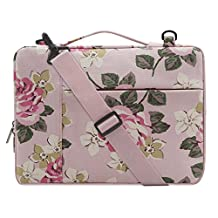 Mosiso Canvas Rose Multifunctional Laptop Shoulder Bag Case Sleeve for 15-15.6 Inch New 2017/2016 MacBook Pro with Touch Bar A1707, MacBook Pro, Notebook, Compatible with 14 Inch Ultrabook, Pink