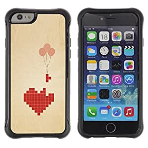 Suave TPU Caso Carcasa de Caucho Funda para Apple Iphone 6 PLUS 5.5 / Love Pixel Art Balloon Brown Beige Heart / STRONG