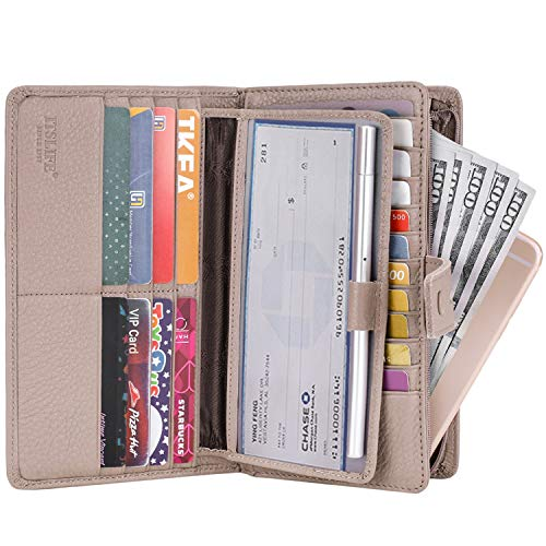 Pink Leather Checkbook Wallet - Itslife Women's Big Fat Rfid Leather wallet clutch organizer checkbook holder (Dark Pink)