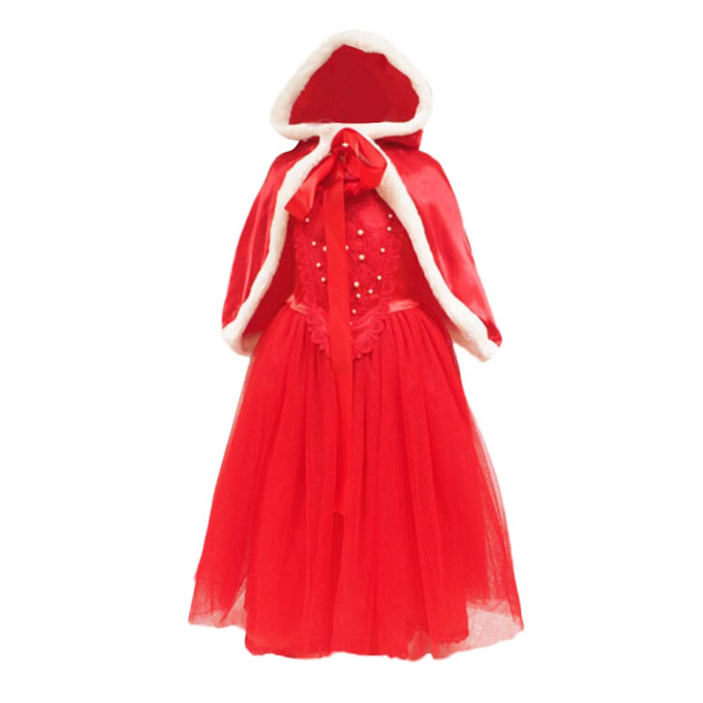 KONFA Teen Toddler Baby Girls Xmas Pearls Dress+Hooded Cloak,Little Princess Christmas Day Party Skirt Clothes Set