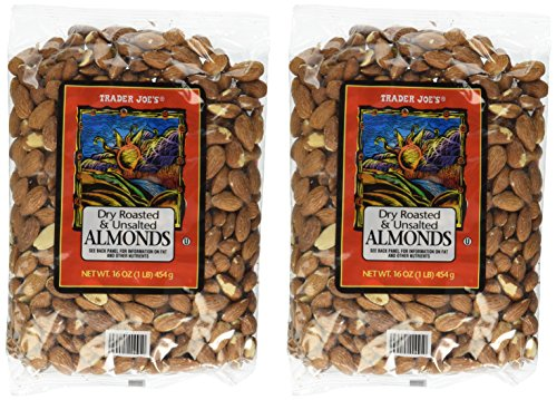 Trader Joe's Dry Roasted and Unsalted Almonds - 1lb (2 - Pack)
