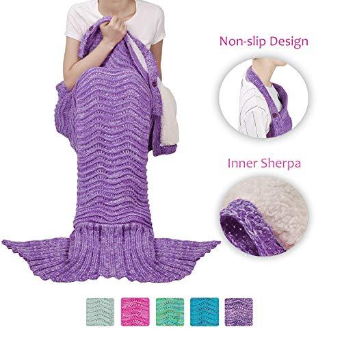 Tirrinia Sherpa Mermaid Tail Blanket for Adults Teens Girls Womens, Super Comfy Warm Anti-Slip Knitted Mermaid Blanket Wave Pattern | Gift Package Included, Purple