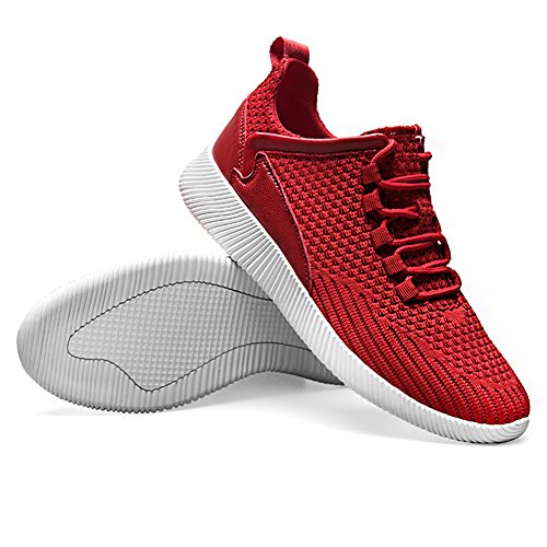 Jamron Hombres Respirable Neta Gimnasio Deporte Zapatos Ligero Cordón Aptitud Zapatos de Deporte Rojo