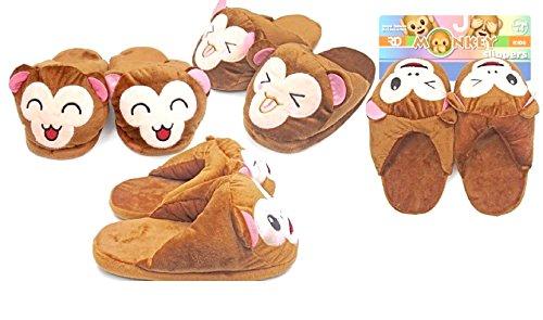 Children's Plush Soft Comfortable Memory Foam Monkey Slippers with Non-Slip Bottom … (Small -