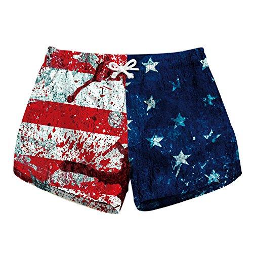 (Women's American Flag Stars and Stripes Print Boardshort Elastic Waistband Beach Shorts with Drawstring Hot Pants Summer L)