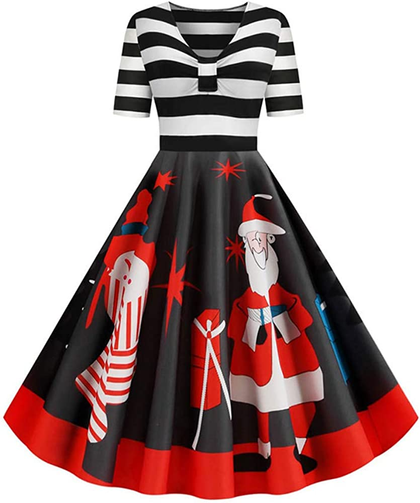 RoseGal Womens Vintage Plus Size Santa Striped Short Sleeve Christmas Printed A-Line Dress