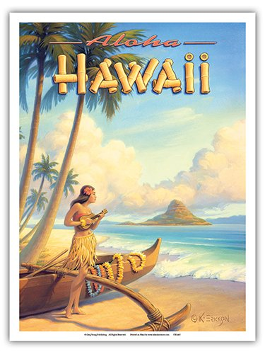 Aloha Hawaii - Hula Girl Playing Ukulele - Mokoli_i Island (Chinaman's Hat) - Vintage Style Hawaiian Travel Poster by Kerne Erickson - Master Art Print - 9in x 12in