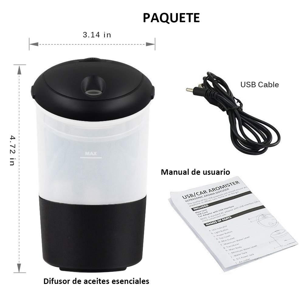 COOLEAD Humidificador Coche USB Ambientador Casa Aroma Difusor de Aceite Esencial 7 Color LED Humectador de Niebla Car Diffuser Essential Oil ...